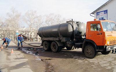 Очищение канализационного колодца