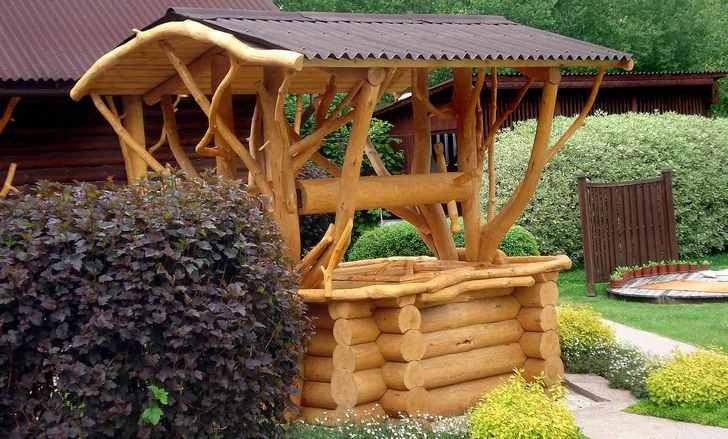 Пример декорирования навеса при помощи дерева