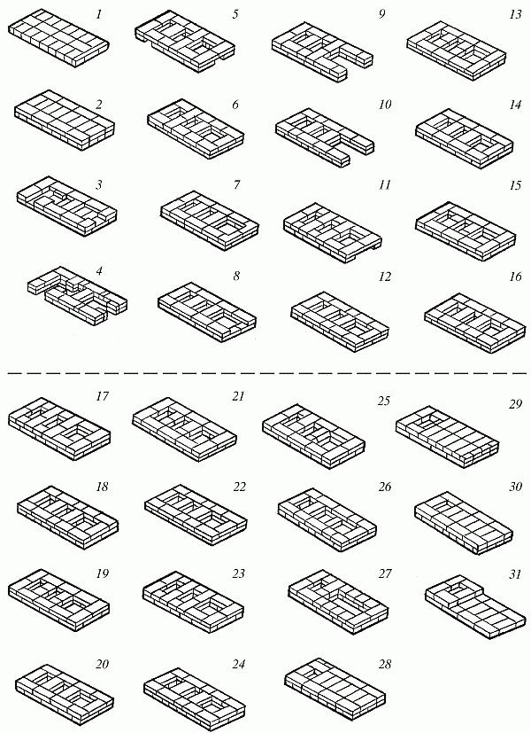 Схема кладки печи в 3 колодца