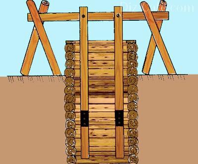 Поднятие верхнего сегмента колодца из дерева