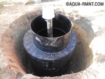Установка кессона на обсадную трубу