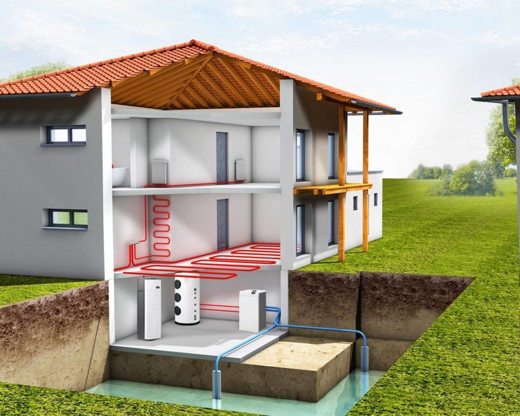Схема: геотермальный насос в жилом доме