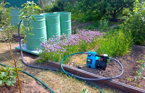 Насос используется для полива, забор воды осуществляется из бочек с отстоявшейся водой, заранее выкачанной этим же насосом из колодца