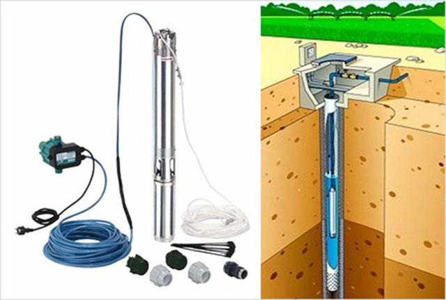 Скважинный погружной насос и схема его установки