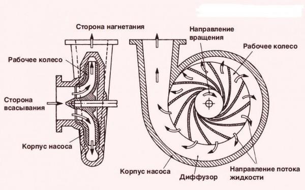Центробежный насос – чертеж и схема действия