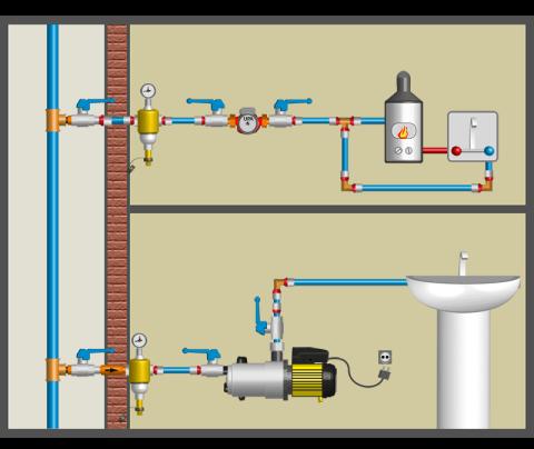 Схема с регулярной подкачкой воды насосом