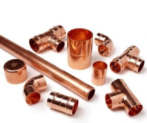 Элементы для медного трубопровода