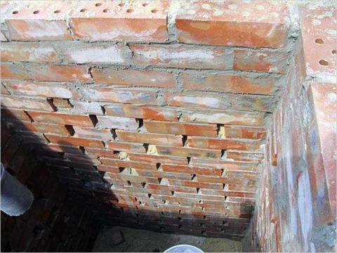 Фильтрующий колодец из кирпича: грунтовое дно и кладка стенок с пропусками