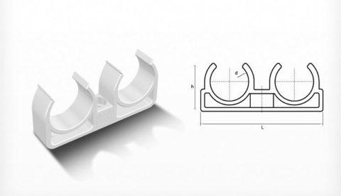 Клипса для крепления парных металлопластиковых подводок водоснабжения к стене