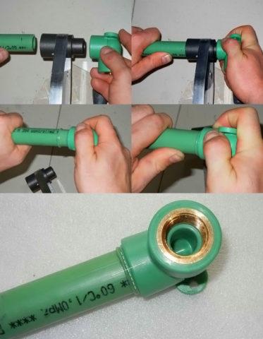 Монтаж одиночной водорозетки на полипропиленовом водопроводе