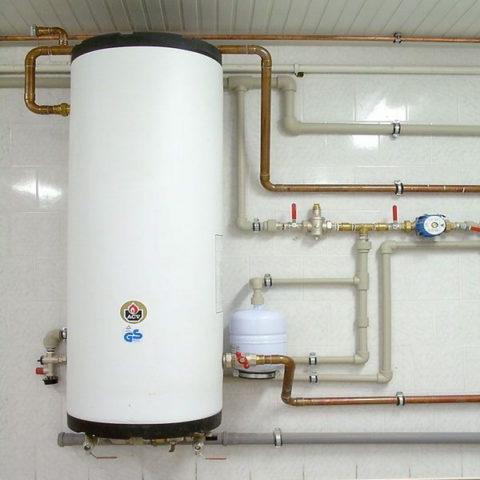 За ГВС отвечает бойлер косвенного нагрева. Давление горячей воды равно давлению в холодном водопроводе