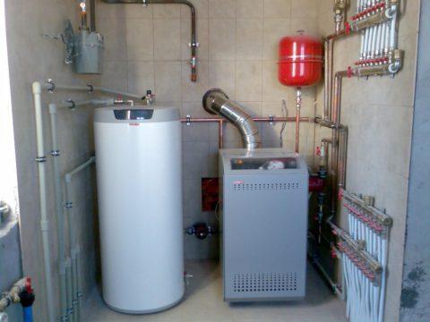 Газовая котельная коттеджа с бойлером косвенного нагрева