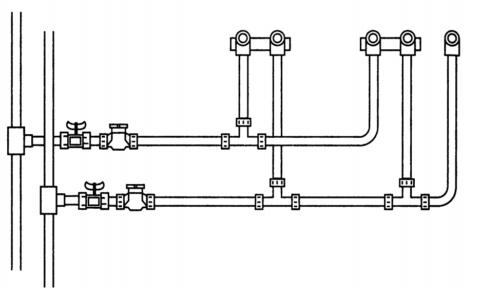 Классическая тройниковая разводка воды от стояков ХВС и ГВС в многоквартирном доме