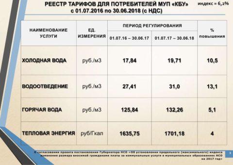 Коммунальные тарифы на 2017 год для города Бердска