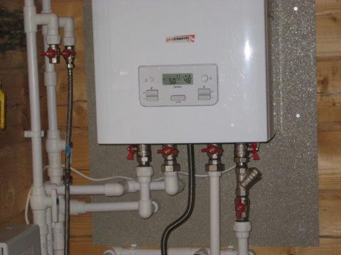 Подключение двухконтурного газового котла к розливам отопления, ГВС и ХВС