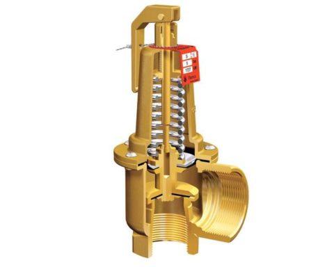 Устройство предохранительного клапана: при достижении критического давления вода сжимает удерживающую клапан пружину и сбрасывается в дренаж