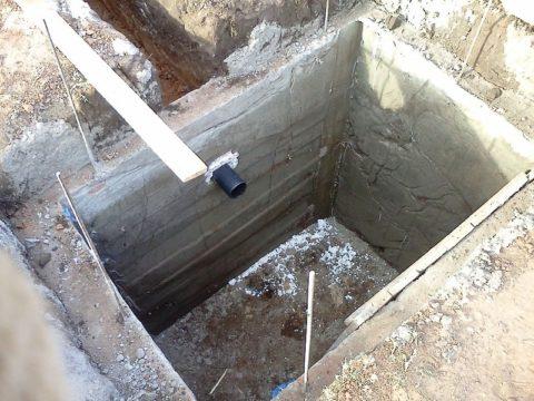 Выгребная яма с залитыми на месте железобетонными стенками