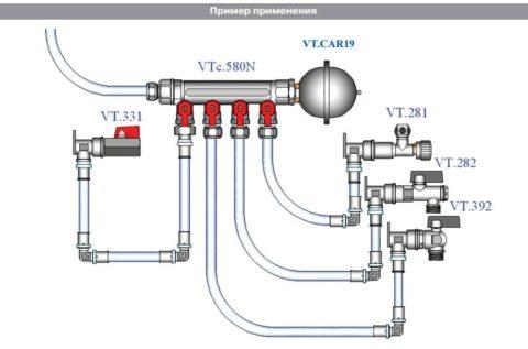 Коллекторная разводка: гидрокомпенсатор стоит на коллекторе