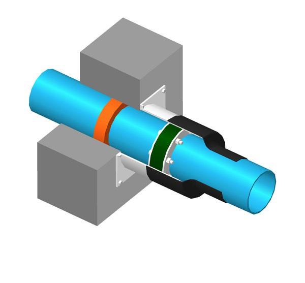 Комплект для устройства ввода труб в колодец