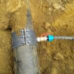 Узел врезки частного водопровода в центральную трубу