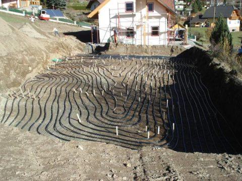Укладка горизонтального коллектора геотермального теплового насоса