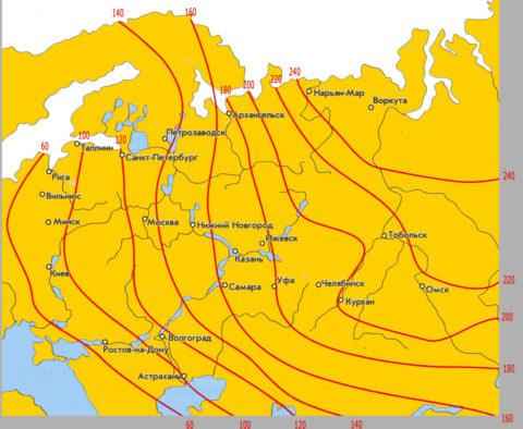 Средняя глубина промерзания для разных регионов РФ