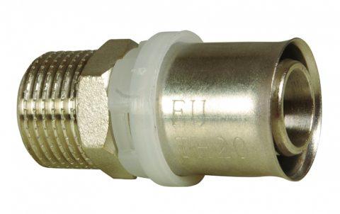 Переходник с 16-миллиметрового металлопластика на резьбу размером ДУ20