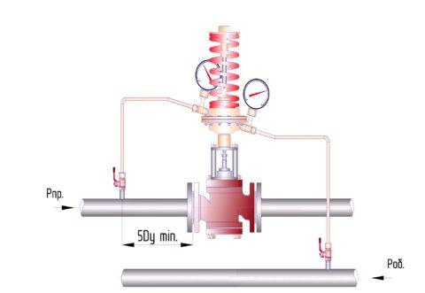 Подключение регулятора перепада к подаче и обратке отопления