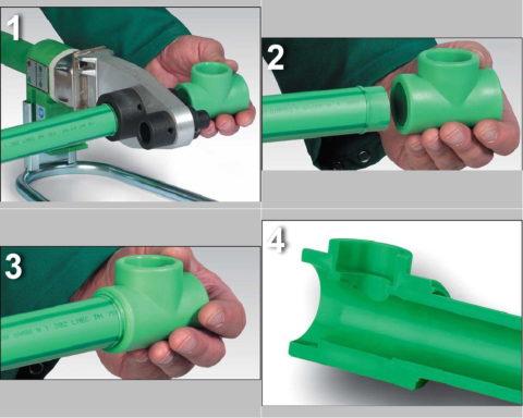 Соединение трубы с фитингом низкотемпературной раструбной сваркой