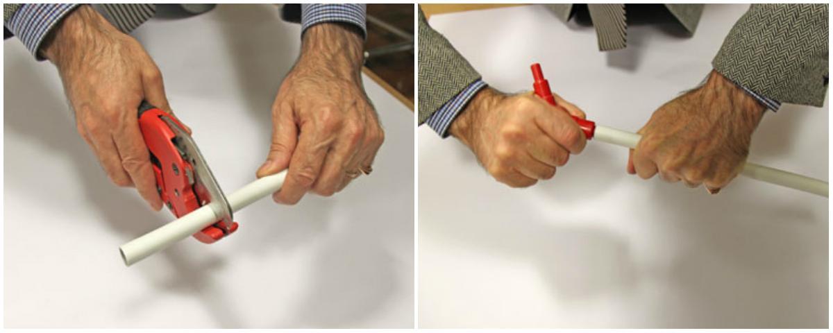 Правильное выполнение операции: труба отрезается труборезом икалибруется