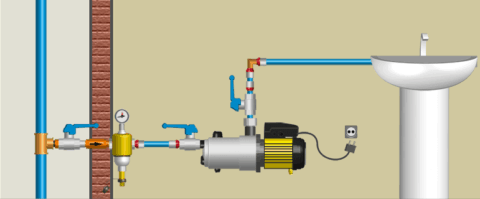 Схема подключения повышающего насоса