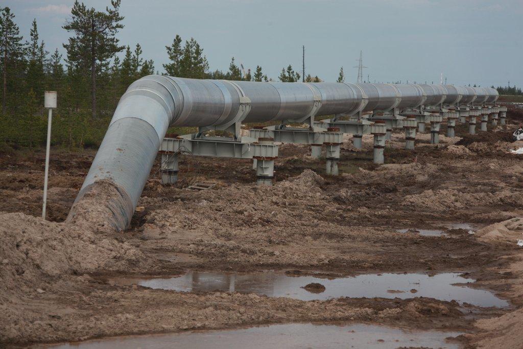 Проблемный грунт вынудил проложить магистральный водопровод на опорах