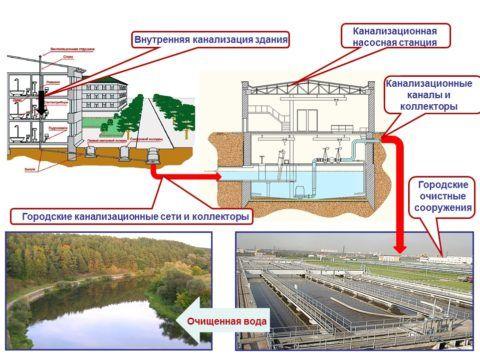 Примерная структура городской канализационной сети