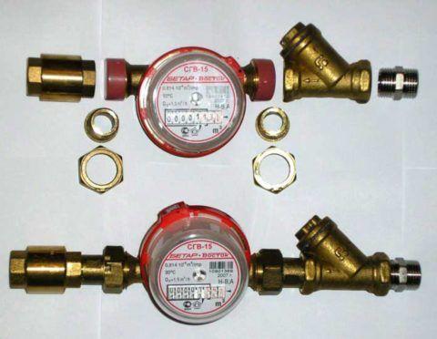 Водомеры с фильтрами и обратными клапанами