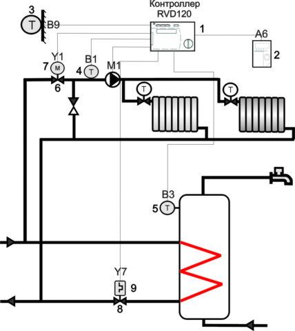 Схема подключения теплообменника без рециркуляции горячей воды