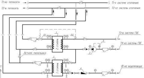 Схема подключения теплообменников для двухступенчатого подогрева воды