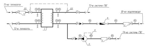 Схема включения теплообменника с рециркуляцией горячей воды