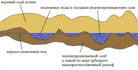 Схема расположения верховодки