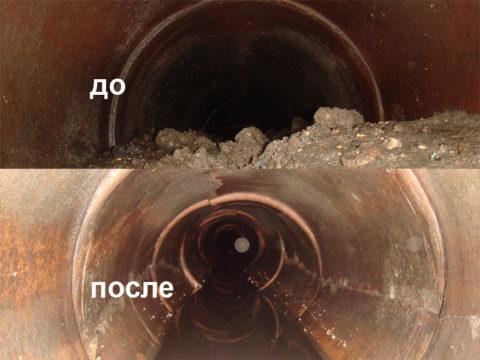 Внутренность трубы до и после очистки