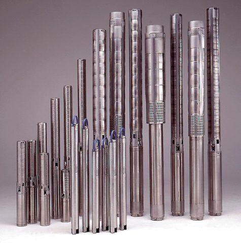 В основном скважинные насосы имеют диаметр 3 или 4 дюйма