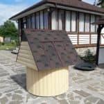 Битумная черепица – идеальный вариант покрытия для колодезного домика